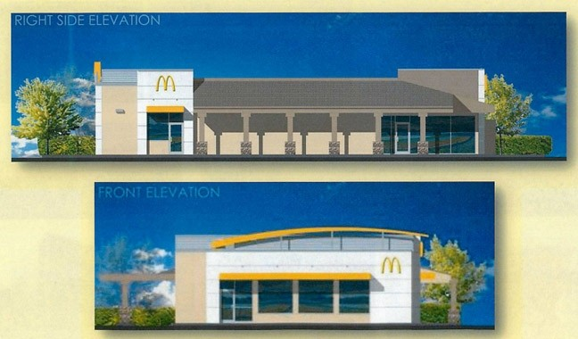 BURGER BROUHAHA:  Despite significant local opposition, the county Board of Supervisors voted on April 8 to approve a drive-thru McDonald's restaurant in Los Osos, illustrated here in a virtual rendering. - IMAGES COURTESY OF SLO COUNTY  DEPARTMENT OF PLANNING AND BUILDING