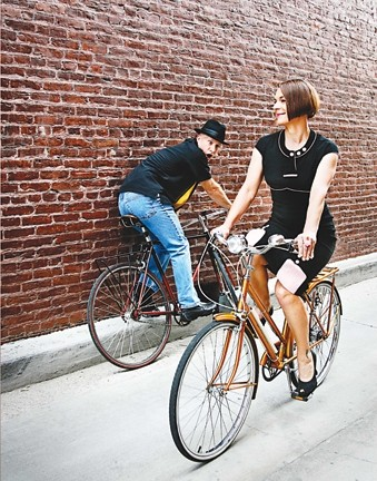 HEELS ON WHEELS :  Sophie Boban (right) is responsible for organizing a Bike Month fashion show and Paul Doering (left, mouth agape) will be constructing the catwalk - PHOTO BY MEGAN MASTACHE