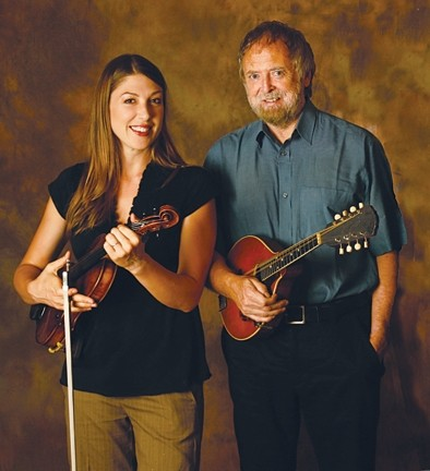 THE GREEN SMILE :  Three-time Junior Scottish Fiddling Champion Athena Tergis (left) joins National Endowment of the Arts National Heritage Award winner Mick Moloney on March 21 at St. Benedict's Church for a traditional Irish music concert. - PHOTO COURTESY OF MICK MOLONEY