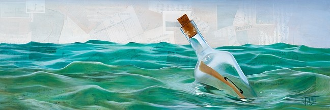 MESSAGE IN A BOTTLE:  'Across Many Seas' by Los Osos artists Josh Talbott features real Navy discharge papers collaged into the background. - IMAGE COURTESEY OF JOSH TALBOTT