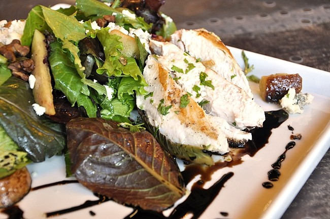 FEELING HEALTHY? :  If you're at a cocktail bar and want a salad, I'm not sure what to say to you except that you're making everyone else feel bad about their pub grub. The Market Salad at Mason Bar is made with organic chicken, barbecued walnuts, blue cheese, and a balsamic reduction. - PHOTO BY CAMILLIA LANHAM