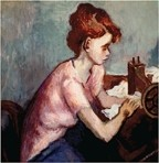 """GIRL WITH SEWING MACHINE:  """"American Scene: The Arthur and Marilynn Rosenberg Collection"""" hangs at the San Luis Obispo Museum of Art (SLOMA) through March 31. An opening reception will take place during Art After Dark on Friday, March 1, from 6 to 9 p.m. A members-only exhibition tour with the curator and collectors will take place at 5 p.m. prior to the reception. The museum is at 1010 Broad St. in downtown SLO; hours are 11 a.m. to 5 p.m. every day but Tuesday. Visit sloma.org for more info. - ARTWORK BY MOSES SOYER, COURTESY OF SLOMA"""