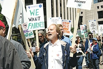 WHAT DO WE WANT? :  More than a year of failed labor negotiations prompted a busload of engineers from Diablo Canyon to protest outside PG&E's headquarters in San Francisco. - PHOTO COURTESY OF ENGINEERS AND SCIENTISTS OF CALIFORNIA LOCAL 20
