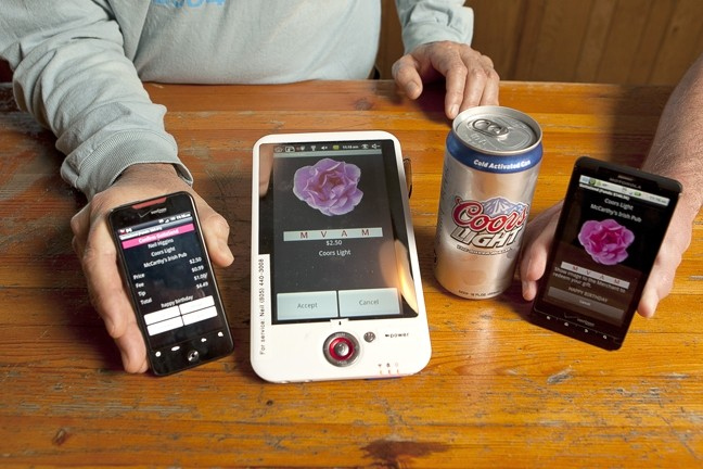 HI-TECH HOOCH SLINGER :  A locally produced app allows users to remotely buy drinks for friends, who can redeem them at participating bars like McCarthy's, Bull's, Mo/Tav, Frog and Peach, and The Library. - PHOTO BY STEVE E. MILLER
