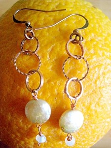 COCOABEADDESIGNS :  Coin pearl and crystal dangle earrings, $25 - PHOTO COURTESY OF COCOABEADDESIGNS