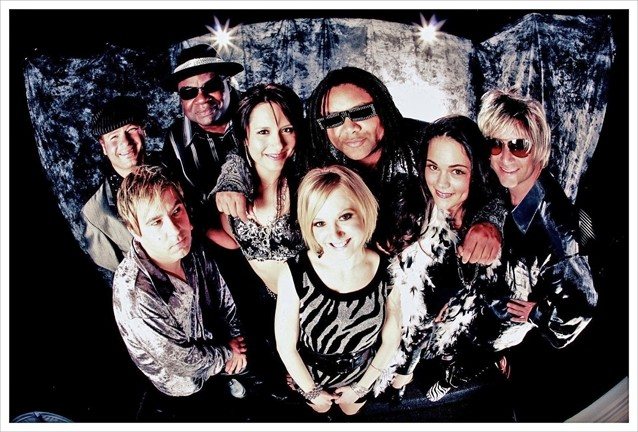 PHAT AND FUNKY :  The Cheeseballs, a Bay Area act that's fronted by former local Eric Cotton (third from the right), brings its '70s party machine to SLO Brew on June 24. - PHOTO BY DJ DOUGHERTY