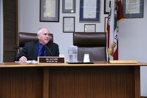 ABSENT :  Edward Arnold's chair at the Arroyo Grande city council sits empty. - PHOTO BY ROBERT A. MCDONALD