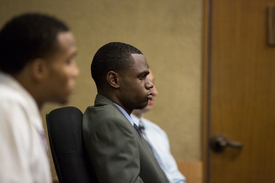 DAY(S) IN COURT:  Defendants (from left to right) Dominique Love, Cortland Fort, and Jake Brito, as well as Kristaan Ivory (not pictured), began their preliminary hearing in SLO Superior Court on Jan. 12. The hearing is expected to conclude on the afternoon of Jan. 15, at which time the presiding judge will decide if the case will move to trial. - PHOTO BY KAORI FUNAHASHI