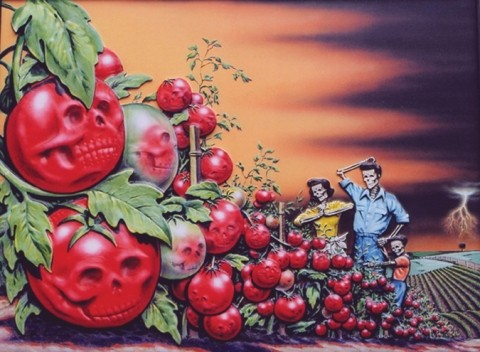 TOMATO DEATH MASK :  Larkins calls his art juxtaposed art and indeed mix things he does. Title: Bumper Crop in Denial Valley. - IMAGE COURTESY OF DENNIS LARKINS