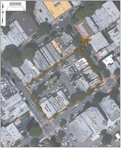 ONLY A SATELLITE WILL LOOK DOWN ON IT :  The proposed Garden Street Terraces project will take up the block bordered by Broad, Garden Alley, Garden, and Marsh streets. - IMAGE FROM DRAFT EIR REPORT