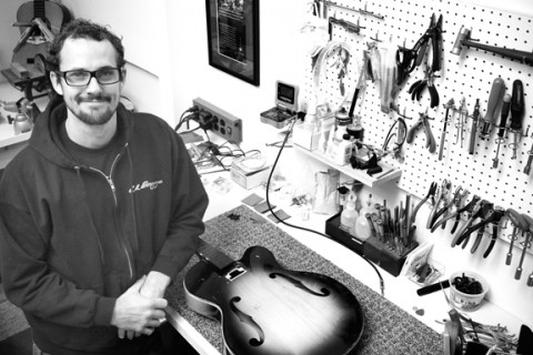 STRINGS ATTACHED :  Butch Boswell, owner of Butch's Guitar Repair in the Creamery, has been mending guitars, banjos, mandolins, and more for more than a decade on the Central Coast. - PHOTO BY MEGAN MASTACHE
