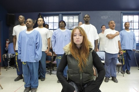 FACE OF A THESPIAN :  Professional actor Lucinda Clare leads inmates during a long and intense rehearsal. - PHOTO BY STEVE E. MILLER