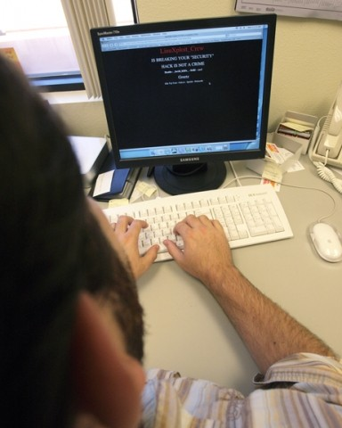 SCREEN TROUBLE :  Hackers hit a couple of local web sites recently, putting their brief message against a mostly black screen in place of home pages for the City of San Luis Obispo and The Cakery. - PHOTO ILLUSTRATION BY STEVE E. MILLER