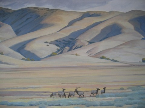 WHERE THE ELK AND THE ANTELOPE PLAY :  Californias unique tule elk, once nearly extinct, are now thriving at Carrizo Plain National Monument, as depicted in this section of a visitors center mural by John Iwerks. - PHOTO BY KATHY JOHNSTON