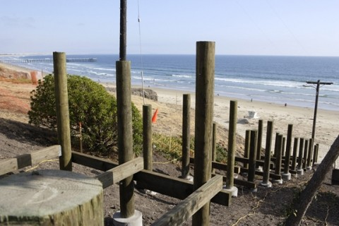 STAIRWAY TO OCEAN: :  A sturdy new staircase will replace the rickety old one that provided ocean access from Pismo Beach's Wilmar Street. - PHOTO BY STEVE E. MILLER