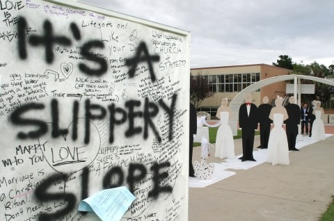 CRAFT OR CONTROVERSY? :  In early November, a temporary art installation at Cal Poly as part of Beth Diamond's landscape architecture class caused a county-wide uproar, as the exhibit suggested that gay marriage could open the door for humans marrying animals.