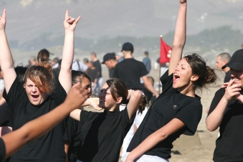 VICTORY? :  Some of the cadets saw the ocean for the first time during a trip to the beach, where they participated in a sandcastle-building competition. - PHOTO COURTESY OF THE GRIZZLY YOUTH ACADEMY