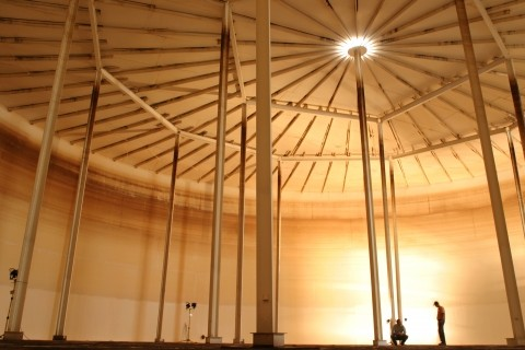 DRY:  After 2003's earthquake damaged this 4-million-gallon water tank in Paso Robles, city officials worried they would have to take drastic conservation measures because of the loss of water storage space. But residents were able to reduce their use and the city made it through a long, hot summer. Tank repairs should be complete sometime in early 2005.