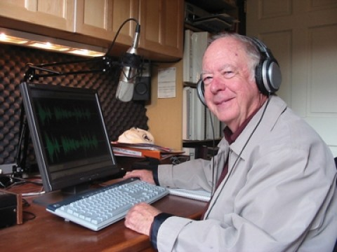"""ON THE AIR :  Jim Kampschroer, who operates Cambria's 103.5, plays what he calls """"Old Time Radio."""" - PHOTO BY KYLIE MENDONCA"""