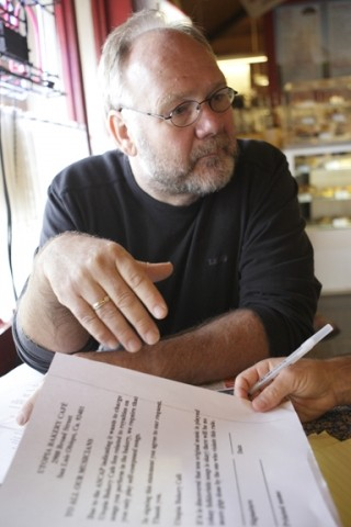 MUSIC MAN :  Kees Docter, owner of Utopia Bakery in San Luis Obispo, said that lawyers' letters involving copyrighted music are his biggest headache as a business owner. - PHOTO BY STEVE E. MILLER