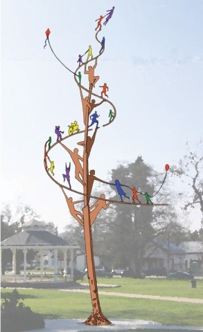PERPETUAL HOPE :  This steel sculpture by Allen Root, the most recently awarded public art contract by the City of San Luis Obispo, will eventually be erected in Mitchell Park. - IMAGE COURTESY OF ALLEN ROOT