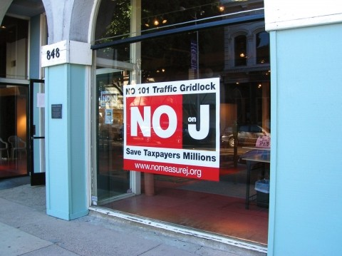 "LET US BE CLEAR :  The County Coalition for Local Control set up shop in downtown SLO and launched its ""No on J"" campaign last month. - PHOTO BY KAREN VELIE"