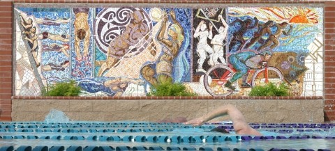 "ROMAN BATH? :  This tile mural by Cayucos artist Peter Ladochy at the new Kennedy Fitness Multiplex pool was created as part of the Public Art in Private Development program. Ladochy is also responsible for the ""Love and Double Joy� tile piece in SLO's Old China Town, as well as a Native American-inspired three-dimensional piece near the Cayucos pool. - GLEN STARKEY"
