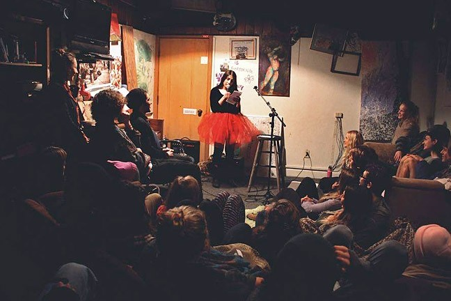 ALL DRESSED UP:  Biba Pickles performs stand-up comedy in a big red tutu. Other show costumes have included turquoise bloomers as well as a sparkly gold bra. - PHOTO COURTESEY OF BIBA PICKLES