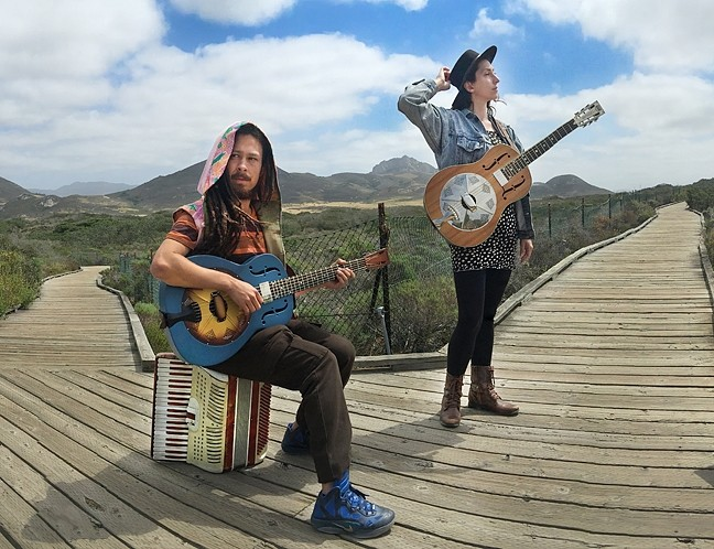 JAZZY FOLK 'N' BLUES:  The Red Barn Community Music Series presents Nathan Rivera and Jessie Andra Smith on March 5, playing National Reso-Phonic guitars and accordion. - PHOTO BY ABE PERLSTEIN