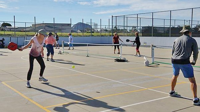 IN A PICKLE:  The Morro Bay Pickleball Club is looking to build permanent courts somewhere in the city. After several other options didn't work out, they've zeroed in on a plan to convert the roller hockey rink at Del Mar Park into courts for their sport. That leaves people involved in roller derby, and other sports, worried about where'd they go if they lost the space. - PHOTO COURTESY OF ELLIOTT GONG