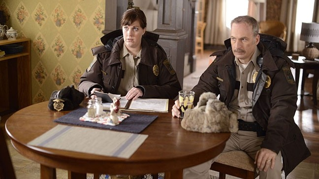 WHODUNIT?:  Deputy Molly Solverson (Allison Tolman, left) and Sheriff Bill Oswalt (Bob Odenkirk) work to solve a series of crimes in the first season of Fargo (2014). - PHOTO COURTESY OF THE FILM DETECTIVE