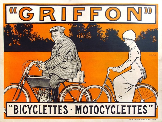 A NEW ERA:  As technology evolved, posters popped up hawking everything from bicycles to washing machines. - IMAGE COURTESY OF VINTAGE EUROPEAN POSTERS