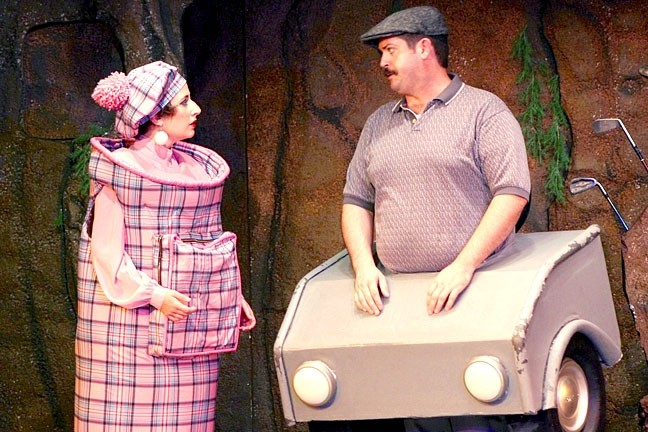 TALE AS OLD AS TEE TIME:  Mrs. Putts (Eleise Moore) and Cartsworth (Paul Henry) were The Creature's manager and caddy, but came under the power of the curse as well after helping the promising young golfer cheat, upsetting the goddess of golf. - PHOTO COURTESY OF LYNDA MONDRAGON