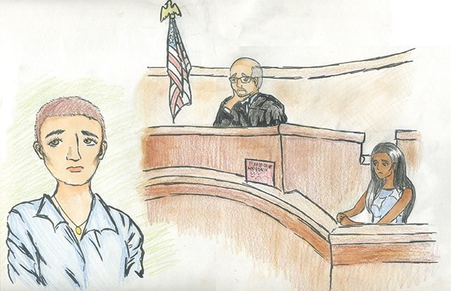 HIGH SCHOOL WINNER!:  Christine Ha of Arroyo Grande High School took first place in the high school courtroom sketch. - DRAWING COURTESY OF CHRISTINE HA