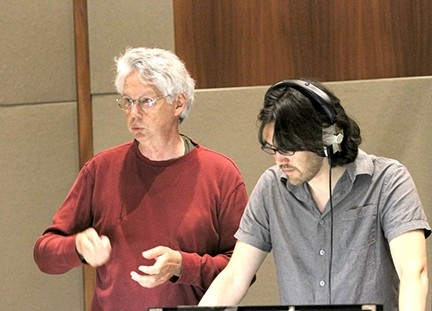 MAKING MUSIC:  The process of writing, composing, and recording the music and lyrics for Home is a Harbor took Mark Abel (left) about two years. Ben Makino (right) conducted the recording of the opera. - PHOTO COURTESY OF TOM ZIZZI