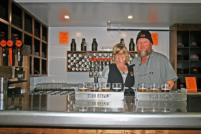 JUMP IN, BEER'S FINE:  In 2015, San Diego residents and Silva Brewing Co. owners Chuck and Mary Jo Silva jumped head first into the idea of starting a new life on the Central Coast. First came wedding bells, then a big move, and then an even bigger dream: to brew their own beer together. - PHOTO BY HAYLEY THOMAS CAIN