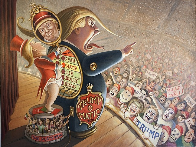 APPEALING TO THE MASSES :  In his piece 'Trump-O-Matic,' Mark Bryan likens Trump to the Wizard of Oz, hiding behind a puffed up version of himself as he literally and figuratively pushes buttons to appeal to voters, all while standing on a political platform that oppresses Muslims and Mexicans. - IMAGE COURTESY OF MARK BRYAN