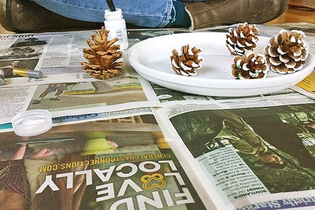 FUN WITH PINECONES:  New Times makes a great community newspaper and a nice protective layer while painting pine cones. These guys made their way to the tree as ornaments. - PHOTO BY PETER JOHNSON
