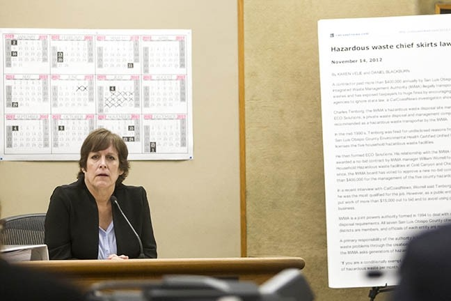 SELF-DEFENSE:  CalCoastNews owner Karen Velie takes the stand to defend the merits of a 2012 article she wrote with co-founder Dan Blackburn about local businessman Charles Tenborg. The trial in the defamation lawsuit he filed against the website concluded on March 15. - PHOTO BY JAYSON MELLOM