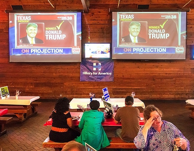 SAD! SLO County Democrats watch Donald Trump's electoral upset over Hillary Clinton in the 2016 general election. The party hopes to gain ground in local, state, and national elections in 2018, but infighting and division could stymie those plans. - PHOTO BY CHRIS MCGUINNESS