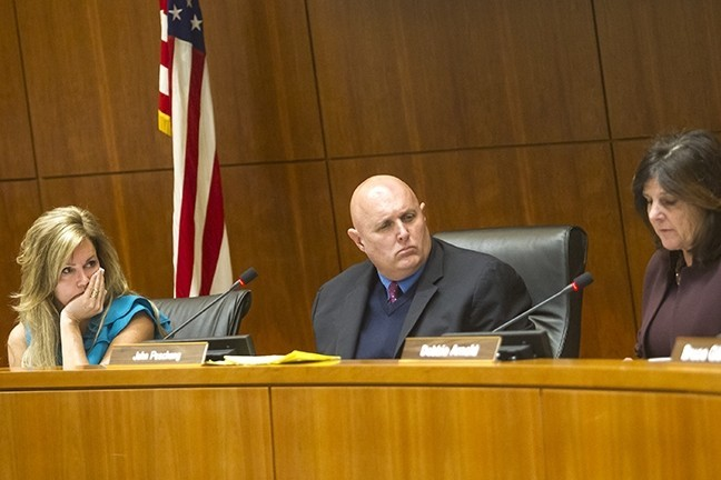CEQA REFORM The SLO County Board of Supervisors, led by Lynn Compton (left), John Peschong (center), and Debbie Arnold (right), is considering changes to the environmental review process for new development. - FILE PHOTO