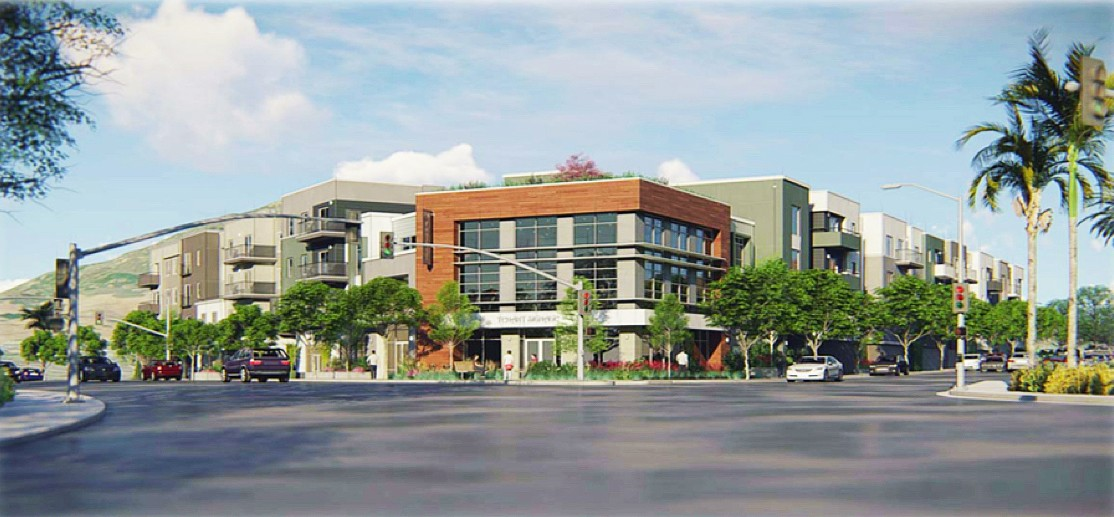 FOOTHILL HOUSING Plans for a four-story mixed-use development at 790 Foothill Blvd. in SLO is moving down the city's review pipeline. It proposes 6,800 square-feet of ground floor commercial space and 78 housing units. - IMAGE COURTESY OF THE CITY OF SLO