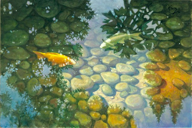 ONE FISH, TWO FISH Los Osos-based artist David Kreitzer frequently paints the koi fish in the ponds at the Paso Robles Inn in pieces like Two Head-On Koi. - IMAGE COURTESY OF DAVID KREITZER