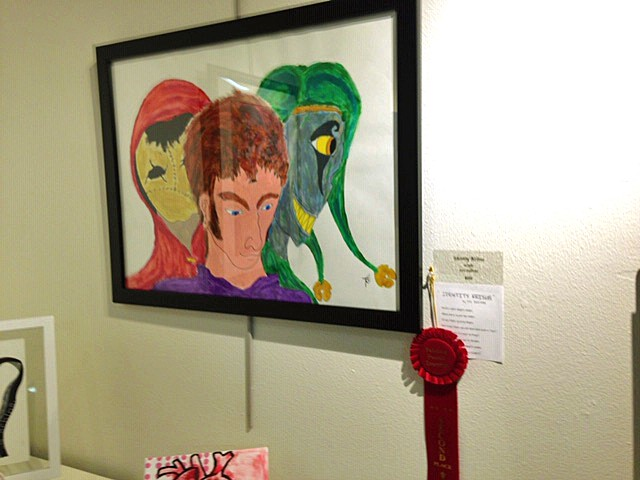 SEEING TRIPLE Leviticus Sullivan's award-winning painting, Identity Krisis, features depictions of himself, a guardian angel, and an imaginary friend. - PHOTO COURTESY OF LEVITICUS SULLIVAN