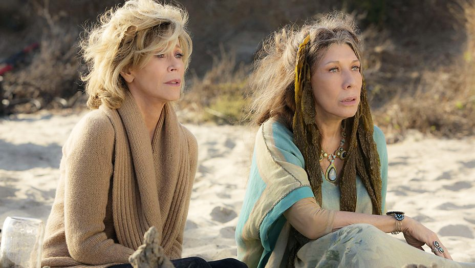 CH-CH-CHANGES After a night on the beach tripping on peyote, Grace (Jane Fonda, left) and Frankie (Lily Tomlin) are forever bonded in the Netflix series Grace and Frankie. - PHOTO COURTESY OF NETFLIX