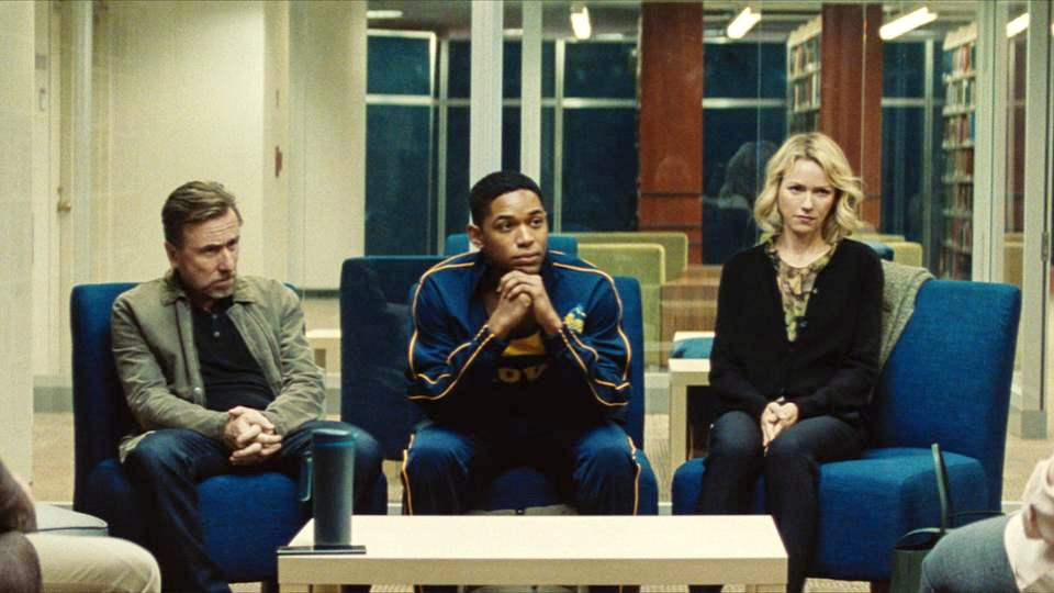 CONFRONTED Accomplished student and athlete Luce's (Kelvin Harrison Jr., middle) stellar reputation is called into question after his teacher discovers something shocking in his locker, in Luce. - PHOTO COURTESY OF TOPIC STUDIOS