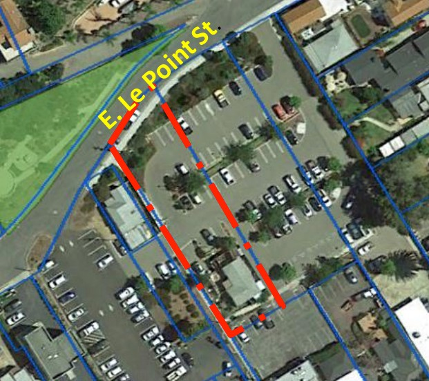 SURROUNDED A map of the city of Arroyo Grande's property at 202 East Le Point Street shows that the residence is completely surrounded by a parking lot. - SCREENSHOT COURTESY OF THE CITY OF ARROYO GRANDE