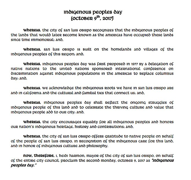 Slo Kicks Columbus Day To The Curb For Indigenous Peoples Day News