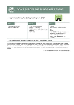 Panda Express Flyer - Uploaded by Cal Poly Cat Program Staff