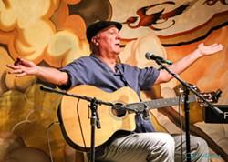 Jim Conroy swaps songs with Steve Key and Rags Rosenberg June 5 at Sculpterra. - Uploaded by Steve Key